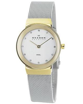 SKAGEN-358SGSCD-Slimline-Edelstahl-Damen-Armbanduhr-NEU
